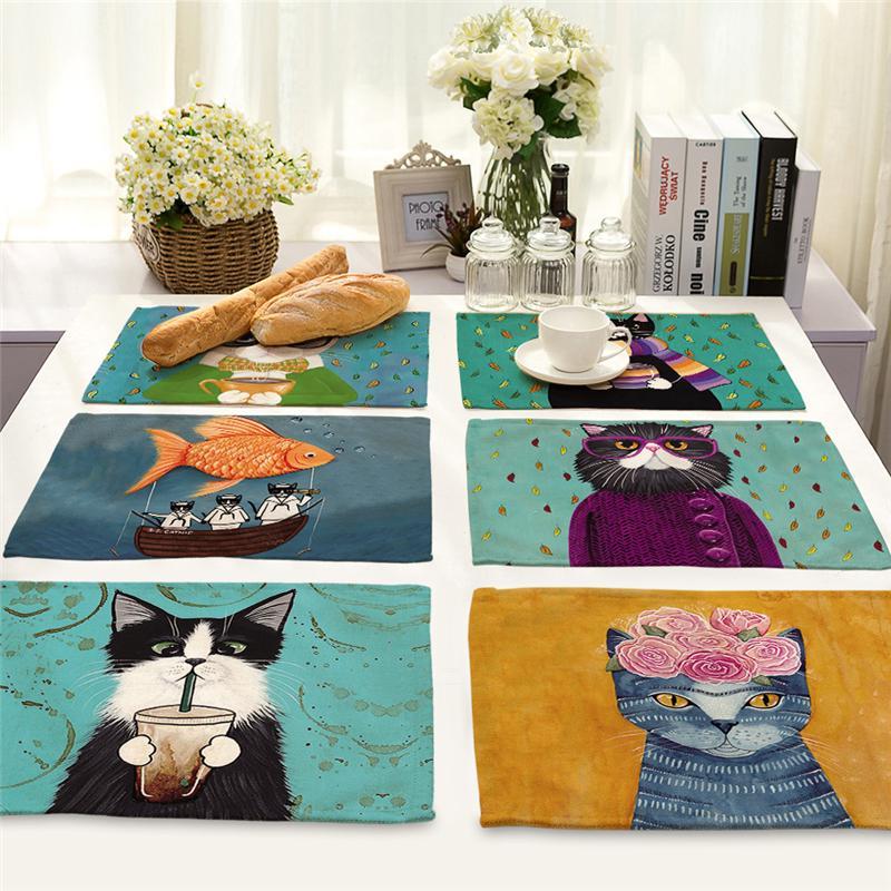 подложка под столовые приборы мультяшная кошка котенок теплоизоляционный хлопок противоскользящая пусковая площадка декор столовой посуды