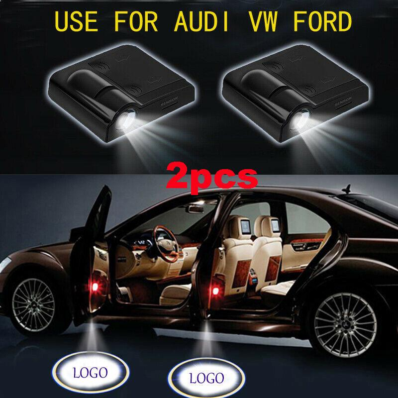 2PCS Car Door Welcome Lights Projector LED Car Projection Shadow Light Laser Emblem Logo Lamps Kit for Copper