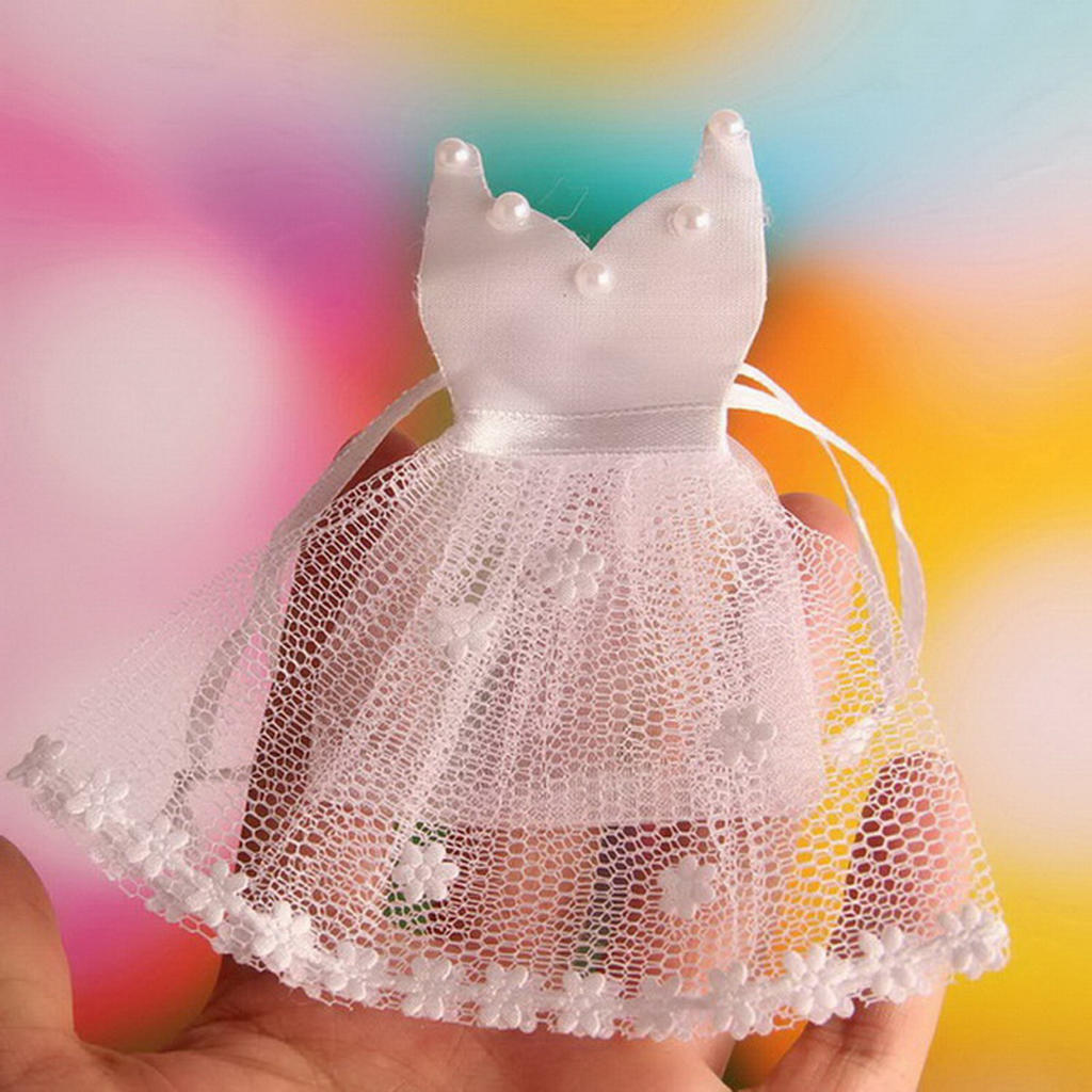 12 piezas blanco velo novia vestido caramelo regalo bolsas Organza ...