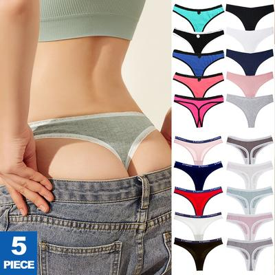 7 Styles 5 Pack Women's Cotton Thongs Low Rise G-string Panties Female Letters Stripes T-back Soft Breathable Briefs Underwear