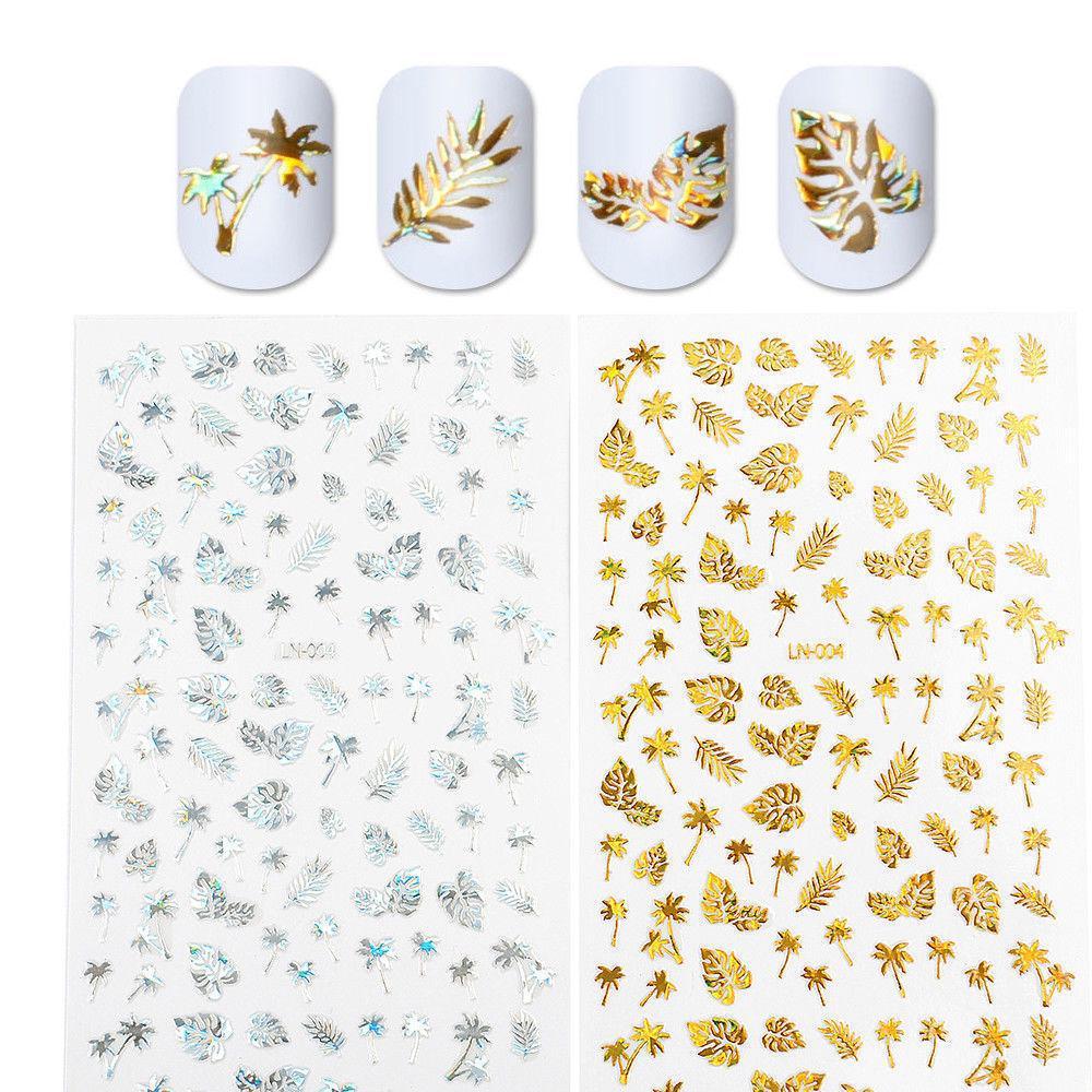 3D ногтей наклейки Золотая Серебряная фольга голографическая ногтей искусство маникюра передачи таблички фото