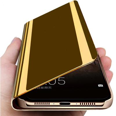 Luxury Slim Clear View Smart Mirror Case Magnetic Flip Stand Phone Cover for Huawei Samsung Xiaomi