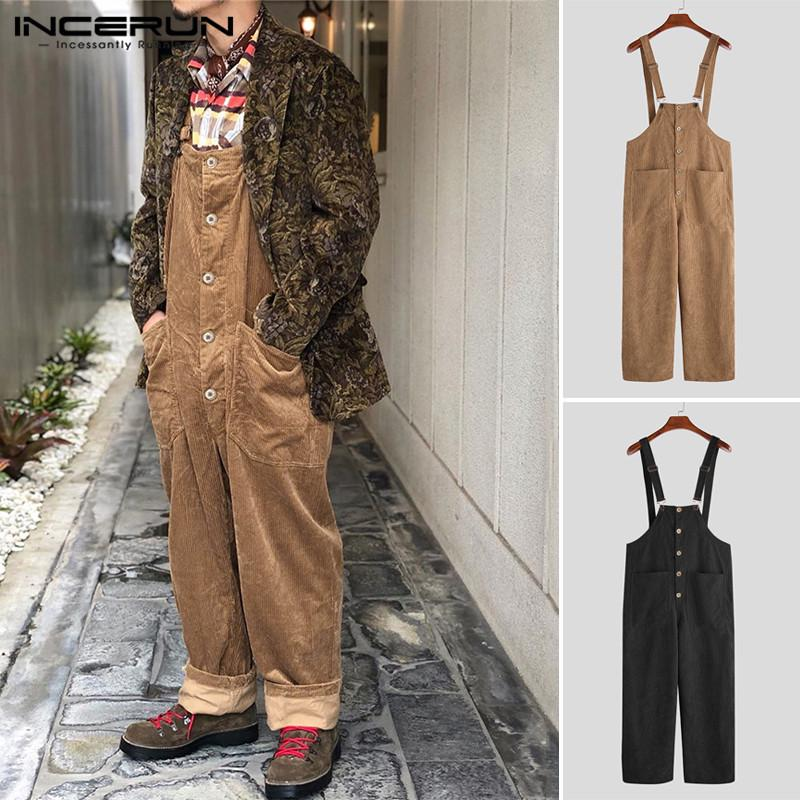 Mens Long Sleeve V Neck Striped Overalls Jumpsuits Casual Loose Coveralls Pants