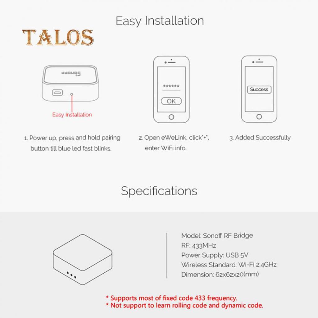 Talos Smart Home Remote Controller 433MHz Switch for Sonoff RF Bridge