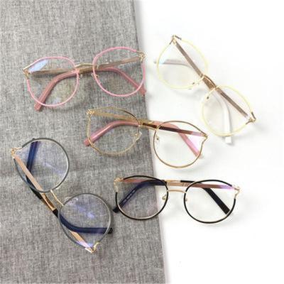 bbfea5e8b2520 Sexy Women Round Style Glasses Fashion Metal Eyeglasses Frame Women Men  Clear Lens Eyewear
