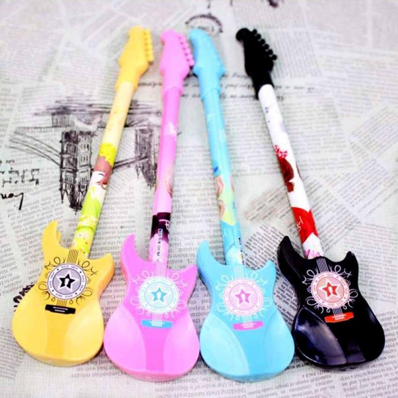 1pcs 0.38mm Kawaii Plastic Gel Pen Guitar Novelty Pens Children Gift-Stationery`