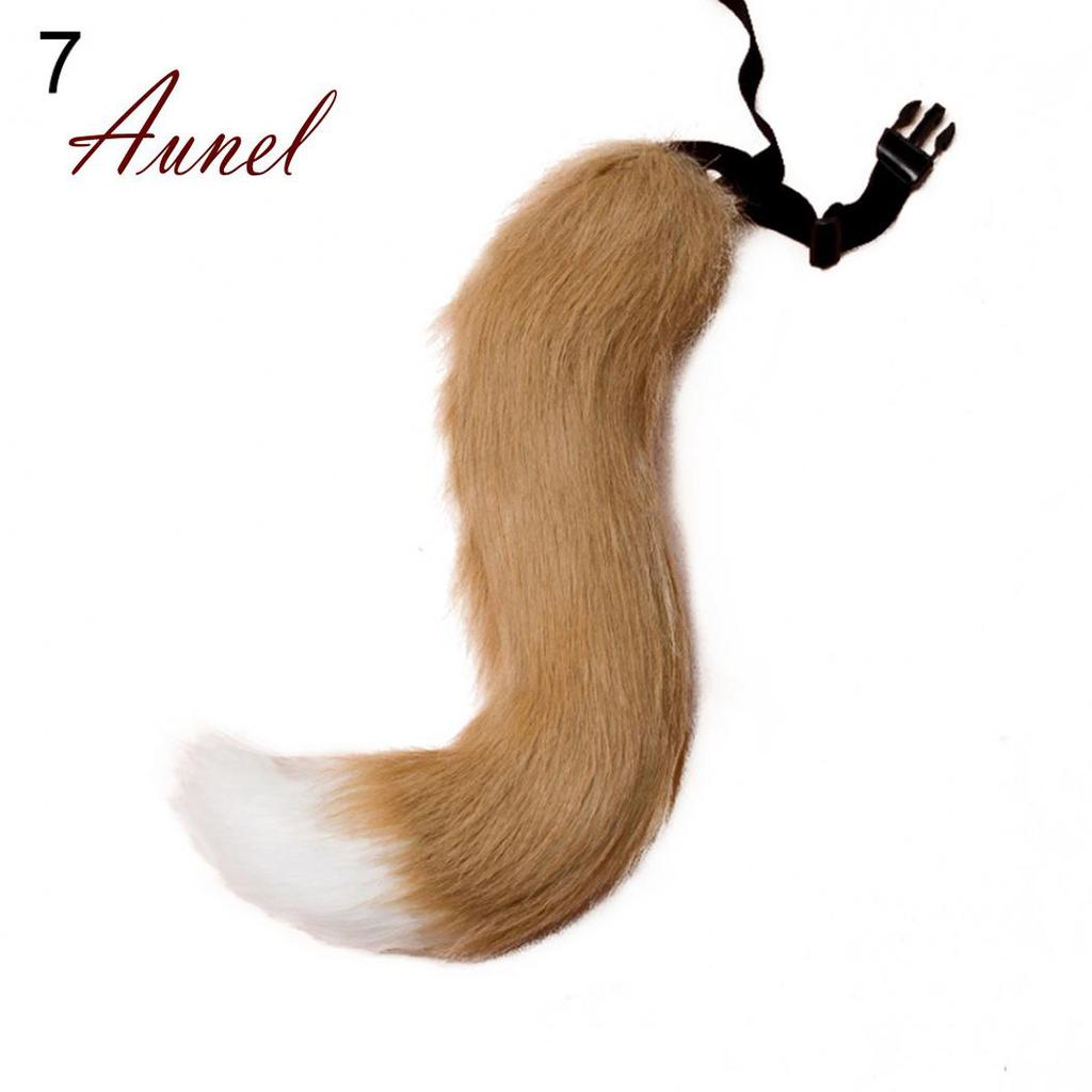 Adjustable Faux Fur Costume Tail Halloween Cosplay Fox Wolf Dog Fursuit Tail NEW