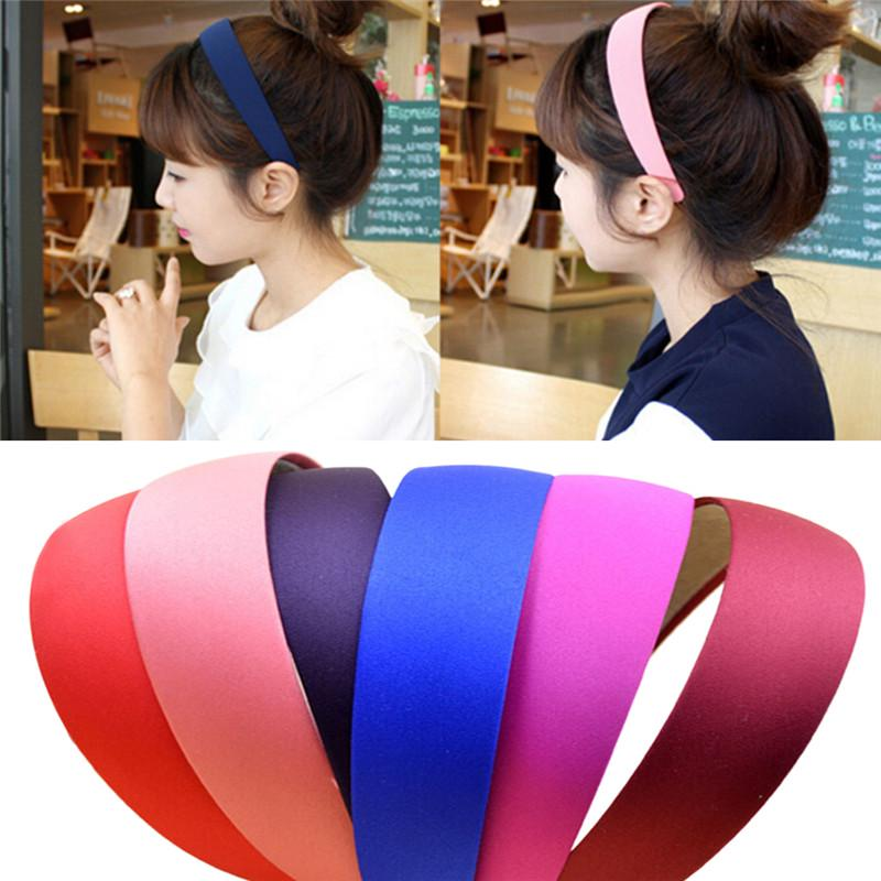 Striped Pleated Hair Band Flash Solid Color Headband Hair Hoop Accessories