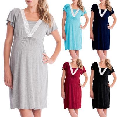 d46bfa72a2 Koronkowe szwy mody Wielofunkcyjny sukienki do karmienia piersią matki w  ciąży