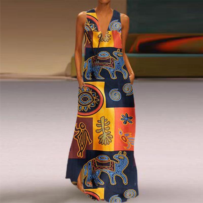 ZANZEA Womens Summer Cotton Sleeveless Tank Dress Casual Plain Long Maxi Dresses