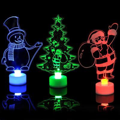 Christmas Decoration Gift Colorful Small Tree Acrylic Snowman Night Light