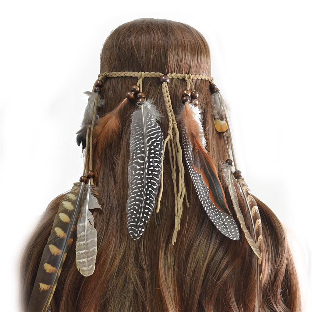 Hippie Indian Feather Headband Handmade Weave Feathers Hair Rope HeaddressNA