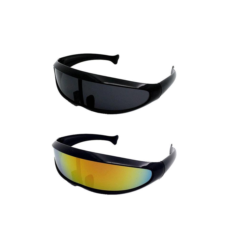 Men Women Futuristic Narrow Colorful Mirrored PC Lens Visor  Sport Sunglasses