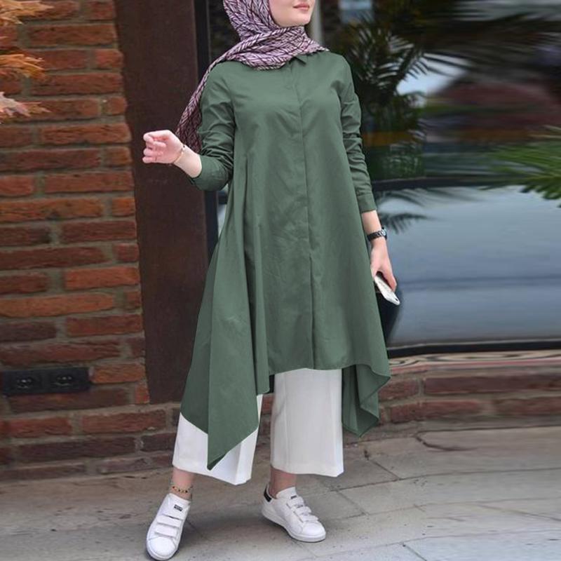 Muslim Women Tops Shirt Dress Islamic Long Sleeve Blouse Caftan Casual Clothes