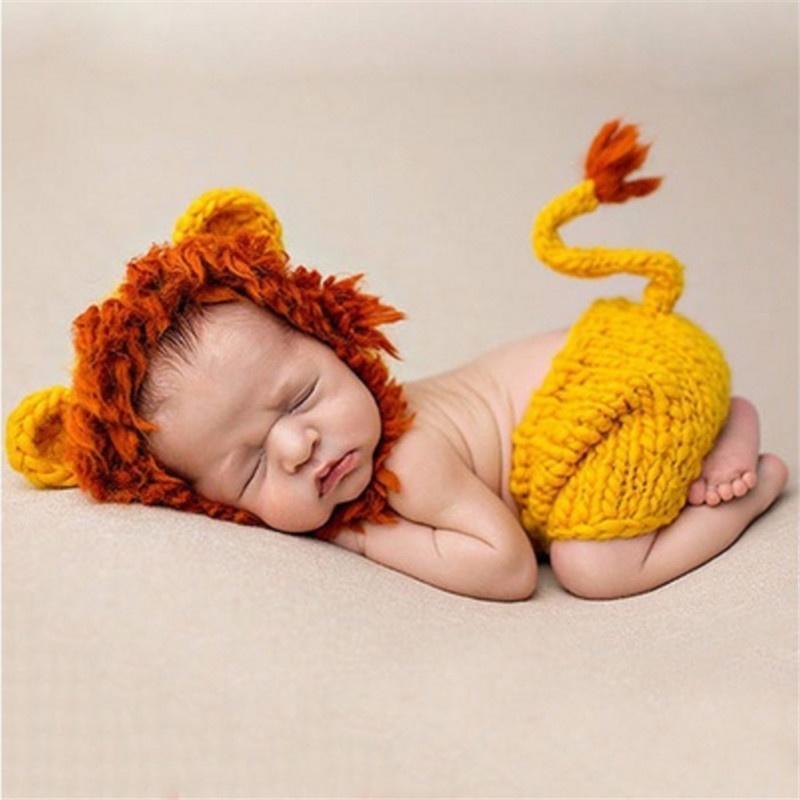 León trajes bebé Crochet Set gorro de lana hecho a mano punto ropa ...