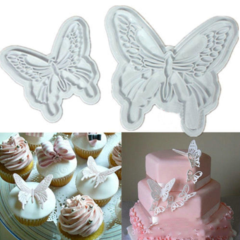 2Pcs//Set Butterfly Cake Fondant Sugarcraft Mould Cookie Plunger Fast Mold I6P6
