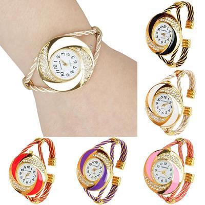 1Pc Fashion Steel Wire Round Bangle Cuff Bracelet Wrist Quartz Watch Womens Gift