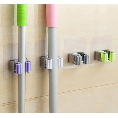 Wall Mounted Mop Holder Broom Brush Hanger Storage Rack Bathroom Organizer KIts