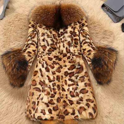 Chic Women Fur Leopard Mid Long Winter Parka Outwear Jacket Coat S-6XL Plus Size