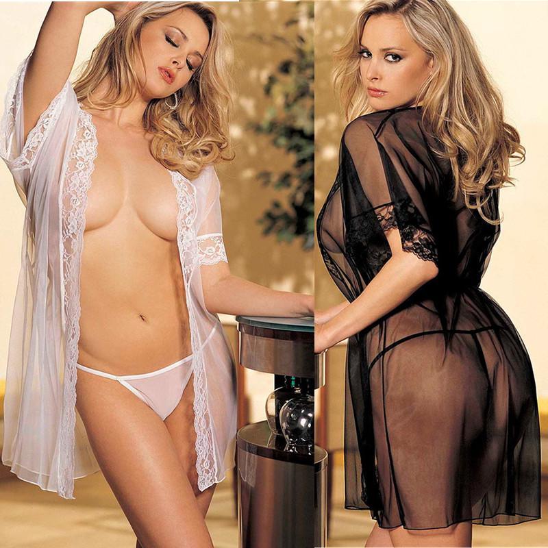 ebay 速贸通 爆款 欧美外贸大码情趣内衣 女式蕾丝浴袍性感睡衣