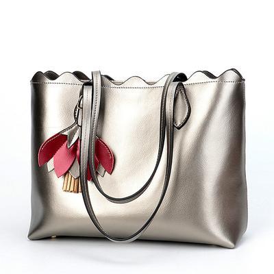 363b83327120 Мода Подлинные кожаные сумки женщин кожаные сумки женщины Большие сумки  плечо Серебряные дамы Сумки руки