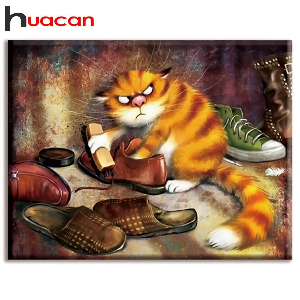 Huacan Крест ашить Вышивка Комплекты 14CT кошка Хлопок Нить Картина DIY Needlework DMC Новый год Главная Декор фото
