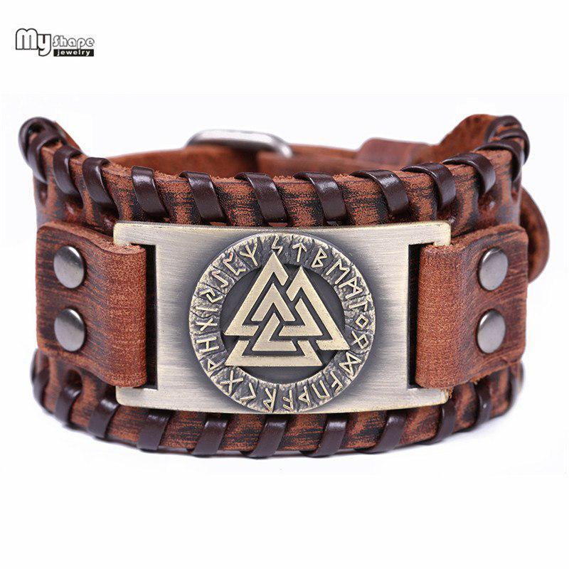 Hommes Unisexe Viking en cuir Punk Wrap multicouche Bracelet Bracelets Hache Hache