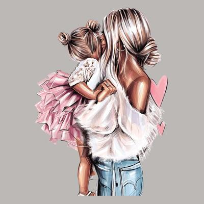 Angel Mom And Girl Iron-On Transfers Heat Transfer Diy Vinyl Fashion Tops Appliqued Patch For Clothes Hot Tear Sticker