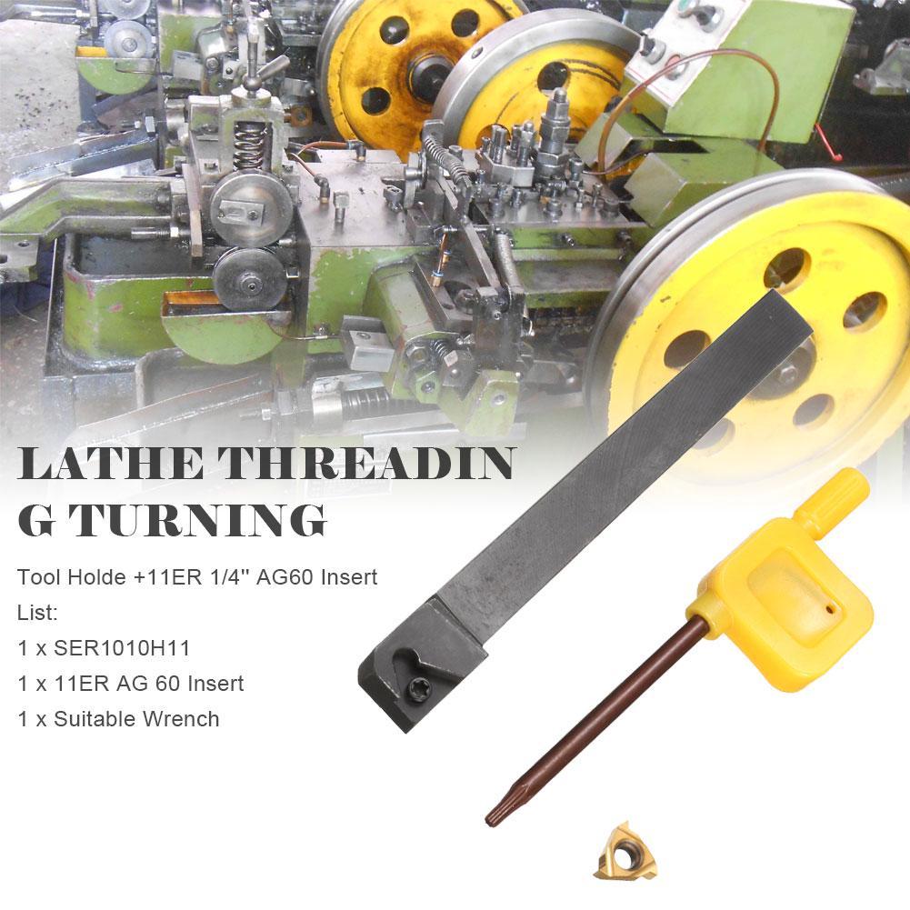 11ER 1//4/'/'AG60 Insert Tool 100mm SER1010H11 Lathe Threading Turning Tool Holde