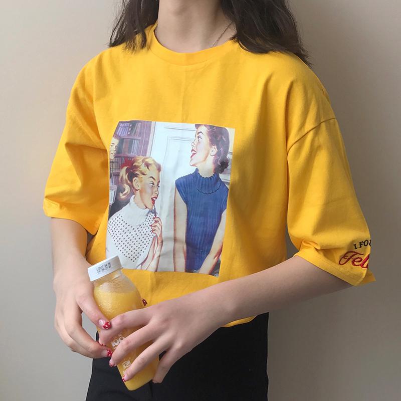 学院风小清晰夏季女装圆领宽松刺绣短袖T恤