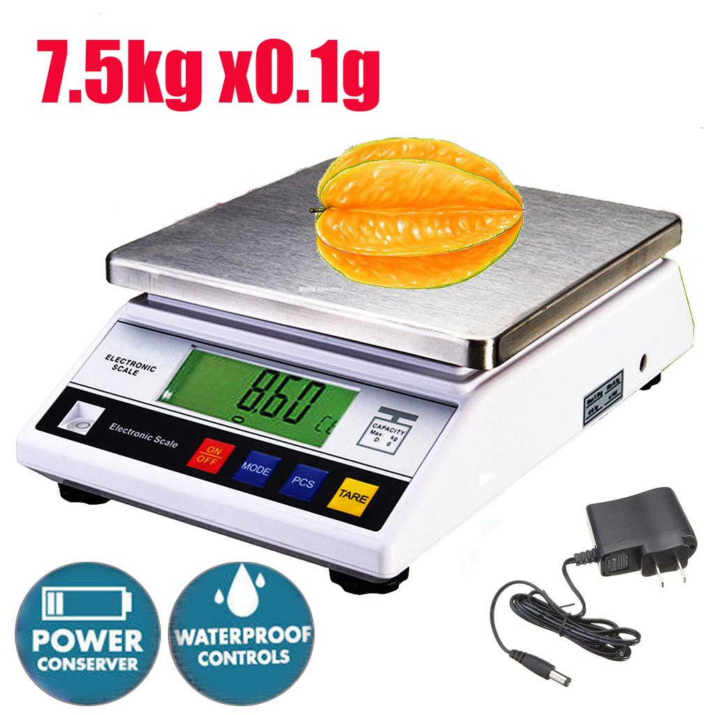 7.5kgx0.1g Heavy Big LCD Electronic Balance Scale Food Weight Postal Scales Lab