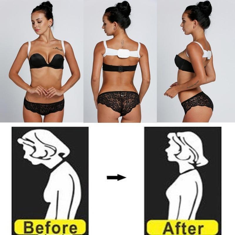 Женщины мужчин унисекс регулируемые тела позы плечо назад поддержки Brace коррекции пояса (цвет: белый) фото