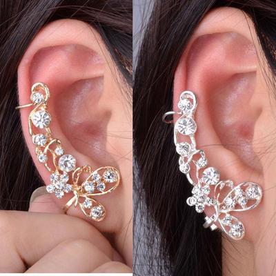1 Pc Retro Crystal Butterfly Flower Clip Ear Cuff Stud Earring Wrap Jewelry Gift