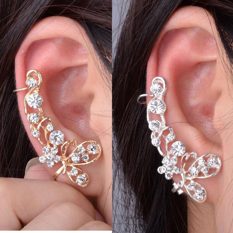 Mignon Zircon Papillon Ear Clip Cuff Ear Stud Boucles d/'oreilles hypoallergénique Argent