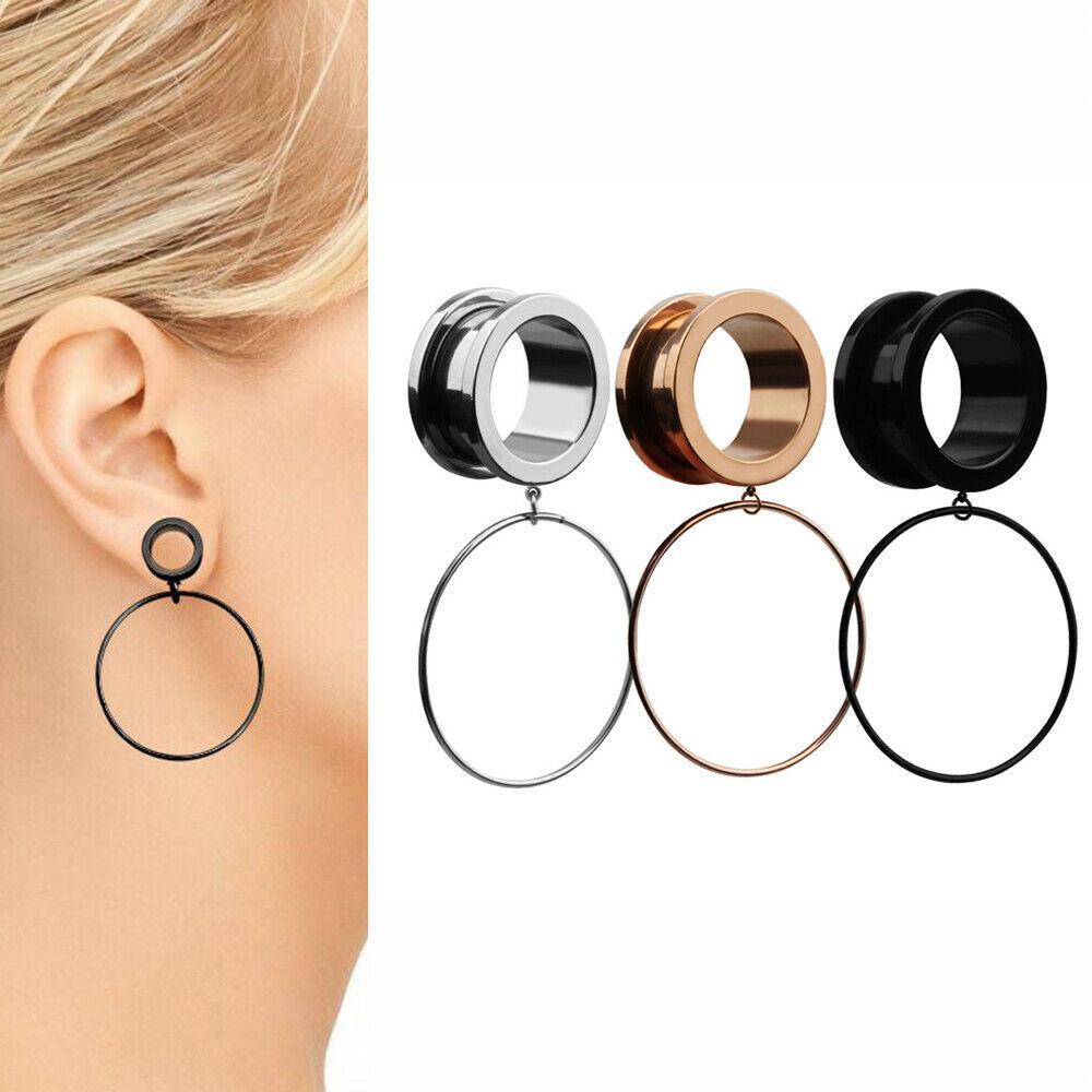 Surgical Steel Ear Plug Flesh Tunnel Hoop Ring Dangle Stretcher Screw Piercing