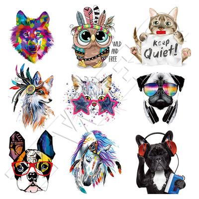 DIY Animal Fox Dog Patches Clothes Sticker Heat Transfer Washable Iron-on Patches For T-shirt Dress