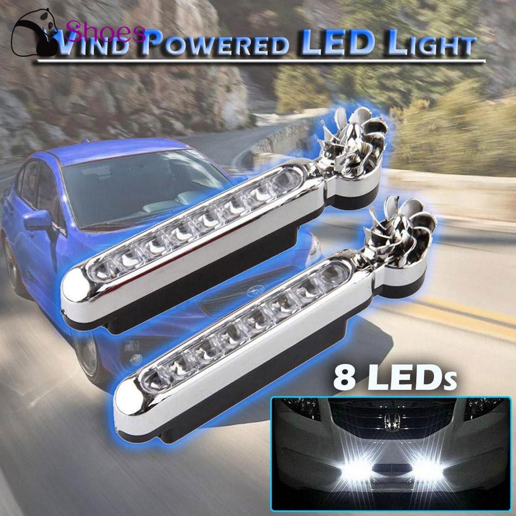 2pcs 8 LED Waterproof Car Daytime Running Light DRL Wind Turbine Powered Fog Day Driving Lamp