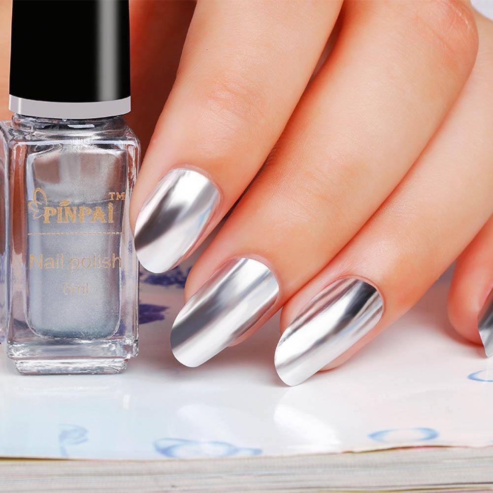 Esmalte de uñas espejo Revestimiento Pasta de plata metálica Color ...