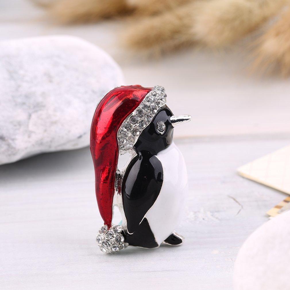 Christmas Rhinestone Enamel Cute Penguin Brooch Pin Xmas Gift Party Decoration