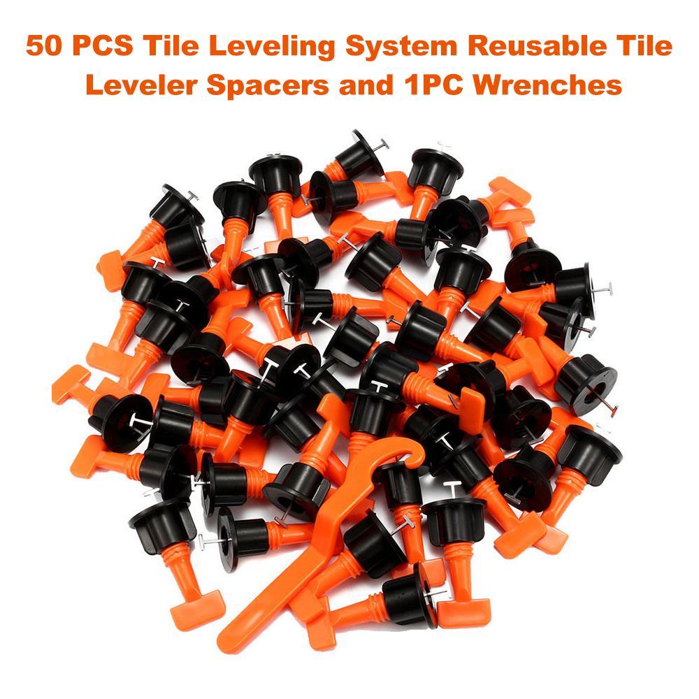 Fdit 50 pcs Reusable Tile Leveler Spacers with Special Wrench Premium Tile Leveling System Kit T Shape Levelling Shim Flooring Alignment Leveller