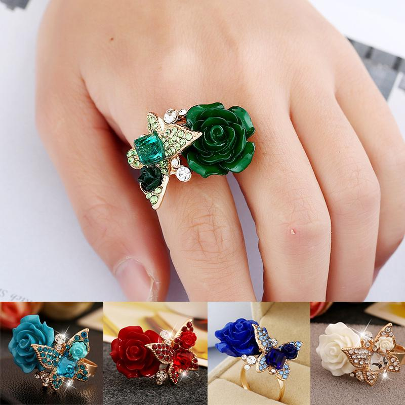 4Pc Bohemian Vintage Floral Rings Women Fashion Alloy Jewelry Gift Accessories