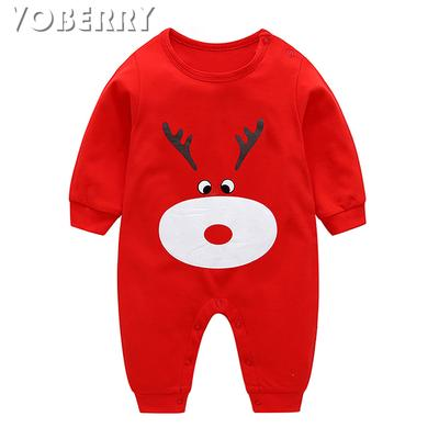 Newborn Toddler Baby Girl Boy Bow Cartoon Deer Romper Jumpsuit Clothes Outfits