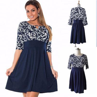 8fa676c695c Вершины женщина мода платье красивое платье сексуальный Blueprint Половина  рукав тонкий платье