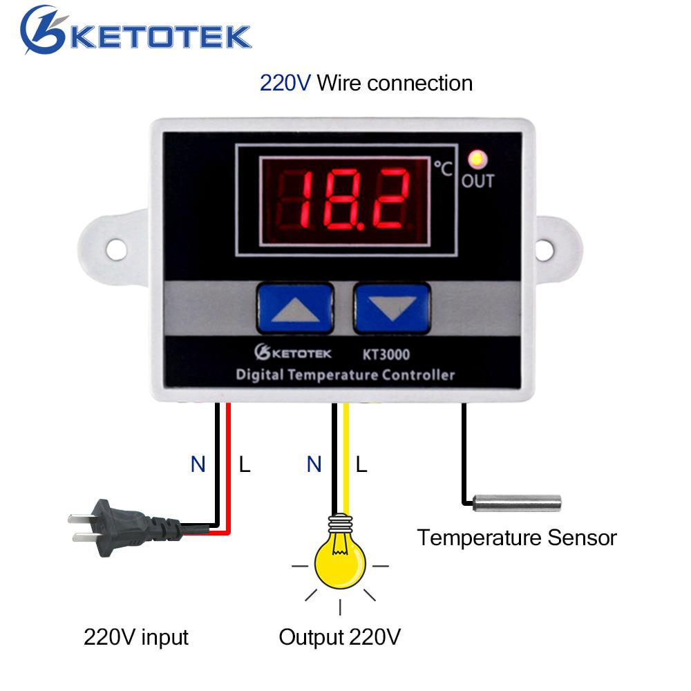 Кетотек KT3000 регулятор температуры термостат LED AC 110 v 220 v 12V 24V микрокомпьютер переключатель фото
