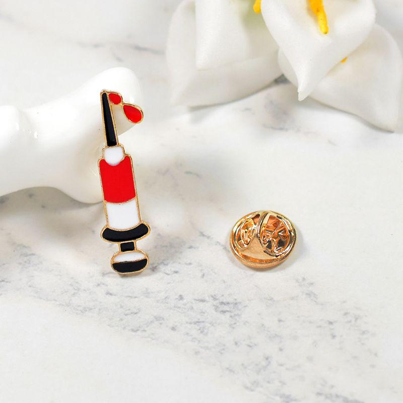 Misright Enamel Medical Syringe Brooches Pins For Women,Vintage Gifts For Christmas//Daily//Birthday