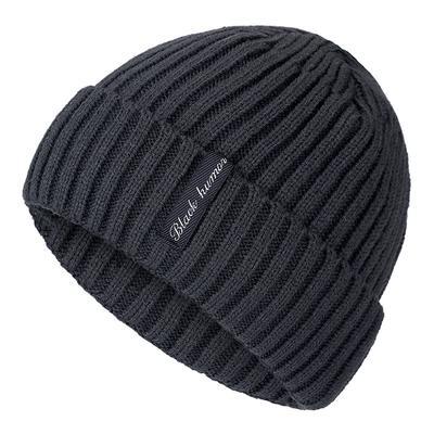 High Quality Black Human Label Winter Hat Add Fur Lined Warm Beanie Hat Stylish Knitted Hat For Men Women Ski Sports Winter Cap
