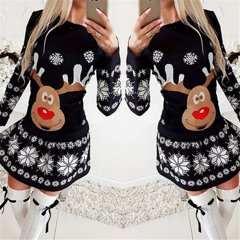 Womens Christmas Elk Print Long Sleeve Hooded Jumper Xmas Fancy Party Midi Dress