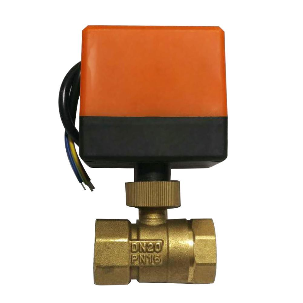 Brass Ball Valve Ac220V Dn50 2 Inch 2-Way 3-Wire Brass Electric Motorized Ball Valve Industrial Valves Dn50 Ball Valve