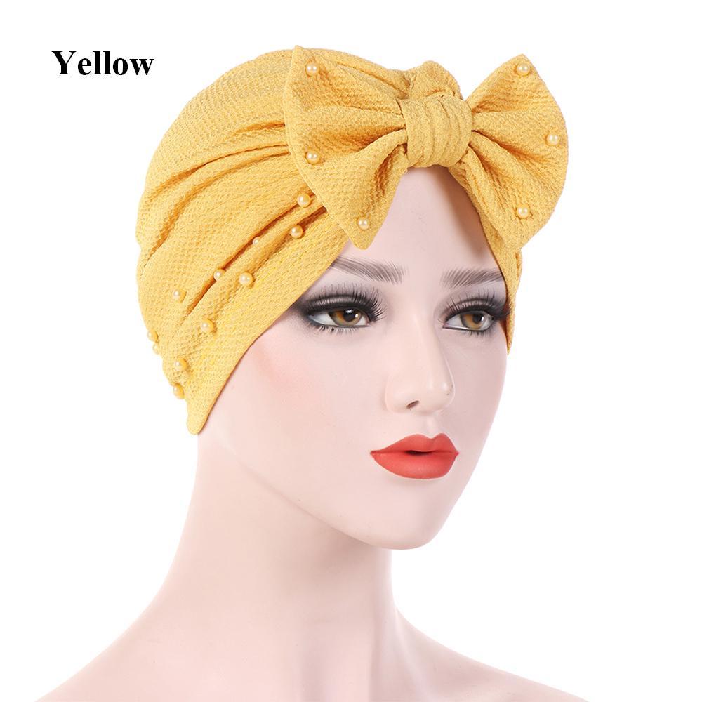f180b3fcc249a Sunscreen Beanies Beads Decor Turban Head Wraps Ladies Hijabs Women ...