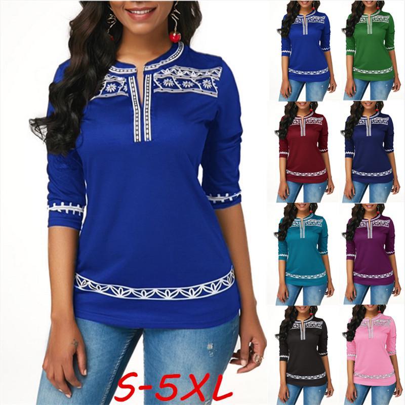 Женская футболка S-5XL, модная повседневная, с принтом, сексуальная, с v-образным вырезом, с коротким рукавом, свободная футболка размера Plua – купить по низким ценам в интернет-магазине Joom